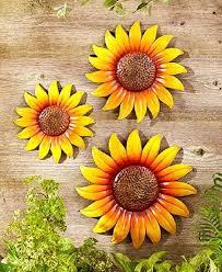 set 3 sunflower fl garden wall art
