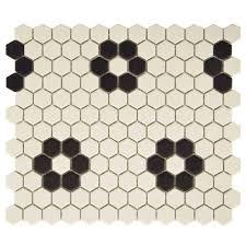 Black And White Hexagon Floor Tile Flower