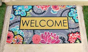 colorful welcome mat. Wonderful Colorful So I Looked For Ways To Incorporate The Pink Green And Purple That Is In  Pillows This Colorful Welcome Mat Right  With Colorful Welcome Mat