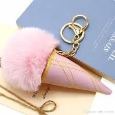 Fur Keychain Designer New Handbag Pendant Pink Ice Cream Pompom Fur Keychains Car Key Rings Girl Handmade Diy Backpack Accessory Jewelry Gift Designer Keychains Key Chain