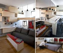 elevating the kitchen and hiding the bed underneath