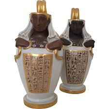 Canopic Jar Designs Pair Austrian Vienna Porcelain Egyptian Revival Canopic Jar