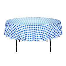 linentablecloth 90 inch round polyester tablecloth blue white checker