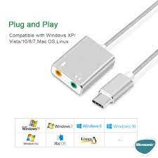 Microsonic Type-C Sound Card Kablo, Type-C to 3.5mm Kulaklık ve Mikrofon  Çevirici Adaptör Gri / Kılıf Marketim