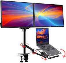Buy Height Adjustable 3 in 1 Laptop Monitor Stand Compatible with 13 to  17.3 inch Laptop, Hold 2 Monitors 11 to 27 inch with Vesa, Monitor Desk  Stand arm Riser Mount Stand Workstation (Black) Online in Italy. B01JE28O6Q