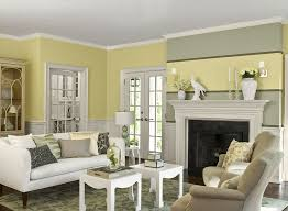 maybe paint my walls the wall color warm and cozy living room banana cream 275 walls horizon gray accent stripe calm ceiling fireplace