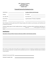Painting Proposal Contract 2012 Pdf