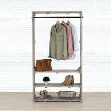 wooden garment rack clothing with shelves free standing storage closet organizer pipe and wood clothes ikea