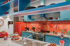Vibrant Kitchen Design With Azure Blue And Red Orange Theme Idesignarch Interior Design Architecture Interior Decorating Emagazine