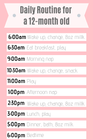 Daily Routine Chart For 9 Year Old 12 Month Old Daily Schedule Taking On Motherhood