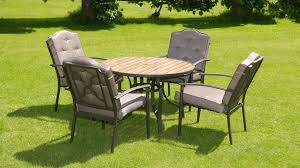 patio table and 4 chairs luxury wood effect padded seater 6 piece metal garden dining