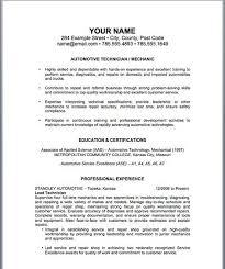 Resume Auto Mechanic Resume Sample