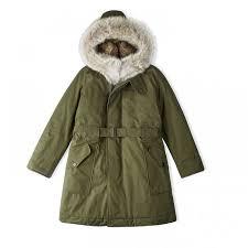 women s fur hooded parka coat dark olive