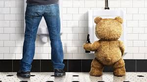 x plush wall: bottle the film wall man floor toilet ted bear