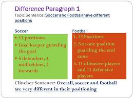compare and contrast essay ppt video online difference paragraph 1 topic sentence soccer and football have different positions
