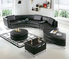 Contemporary Furniture Sale Black Leather Couch Set 4139