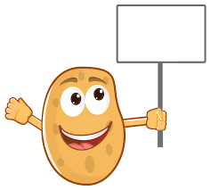 potatoes clipart.  Potatoes Anthropomorphic Potato Holding Sign In Potatoes Clipart T