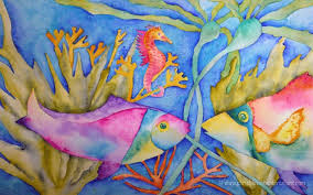 chris blevins suzi vitulli watercolor work tropical fish
