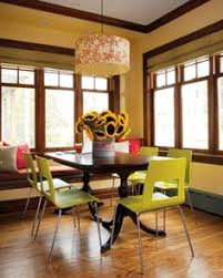 modern chartreuse chairs with traditional table
