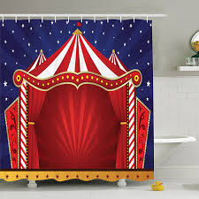 circus decor shower curtain canvas tent circus stage performing theater jokes clown cheerful night theme print bathroom decor