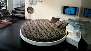 ... Stylish modern round bed nicely tucked in a corner