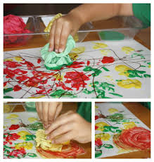 fall painting activity for kids using hands and crumpled paper