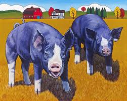 pig paintings big pigs by stacey neumiller
