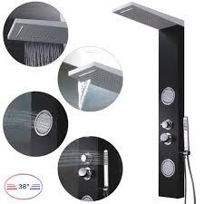 Aluminium Duschpaneel Thermostat Wasserfall Massage Regendusche Schwarz Weiße Sanlingo