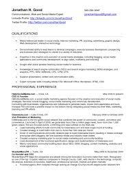 Social Media Resume Template Social Media Resume Example Examples Of Resumes Social Media Social 3