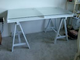 white sawhorse desk with glass top for home furniture ideas