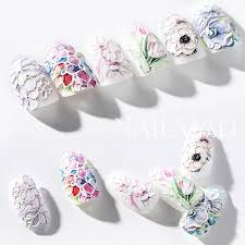 1pc <b>3D Acrylic</b> Engraved Flower Nail Sticker Embossed Flower Nail ...