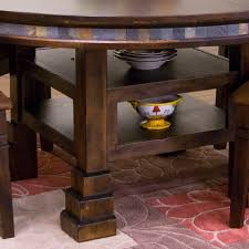 santa fe wood round dining table in dark chocolate
