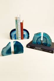 Small Teal Agate Bookends