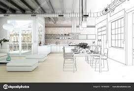 Interieur Design Woonkamer Tekening Gradatie In Foto Stockfoto