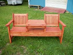 garden landscaping: Sweet Couple Set And Square Table In Center Part For Wood  Bench Ideas