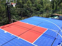 how much does a sport court cost aerial view of outdoor basketball and tennis court sport