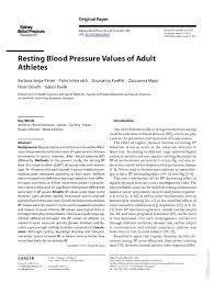 Pdf Resting Blood Pressure Values Of Adult Athletes