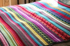 Patterned Blankets Custom Colorful Rainbow Sampler Blanket AllFreeCrochetAfghanPatterns
