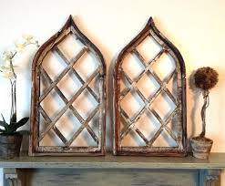 rustic wood wall hangings with lattice work
