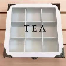 white modern rectangle 9 compartments wooden tea box glass