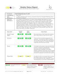 Sample Weekly Status Report Template Sample Weekly Project Status Report Template Email Examples