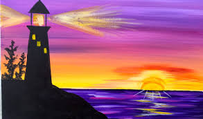 Easy Things To Paint Sunrise Lighthouse Step By Step Acrylic Painting On Canvas For