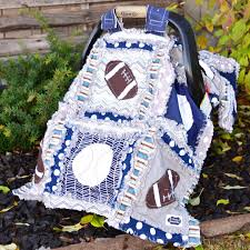 Car Seat Canopy Sports Rag Quilt Blanket Blue Gray Baby Boy