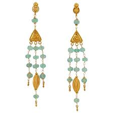 etruscan style emerald bead and gold chandelier earring for
