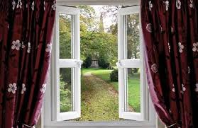 open window with curtains.  Curtains Open Window With Curtains To A Church Garden Stock Photo  9531002 Throughout Window With Curtains D