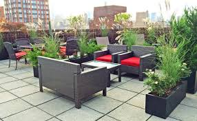 Image Contemporary Upper East Side Nyc Roof Deck Wicker Furniture Container Plants Roof Deck Furniture House Home Upper East Side Nyc Roof Deck Wicker Furniture Container Plants Roof