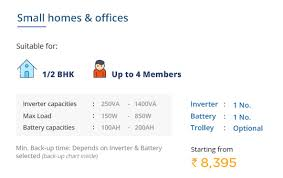 Buy Inverter And Battery Packages For 1bhk To 4bhk Homes