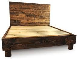 Farm Style Platform Bed Frame, Dark Walnut, California King rustic ...