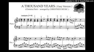 a thousand years piano sheet music a thousand years christina perri piano solo sheet christheo music