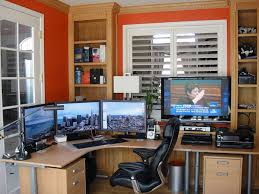 Beautiful Yet Modern IKEA Home Office Ideas : EyeCatching Orange Wall  Painting IKEA Home Office Design with Large Curved Computer Desk and  Sophisticated ...